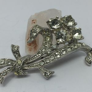 50's Chunky Flower & Stem Crystal Rhinestone Pin